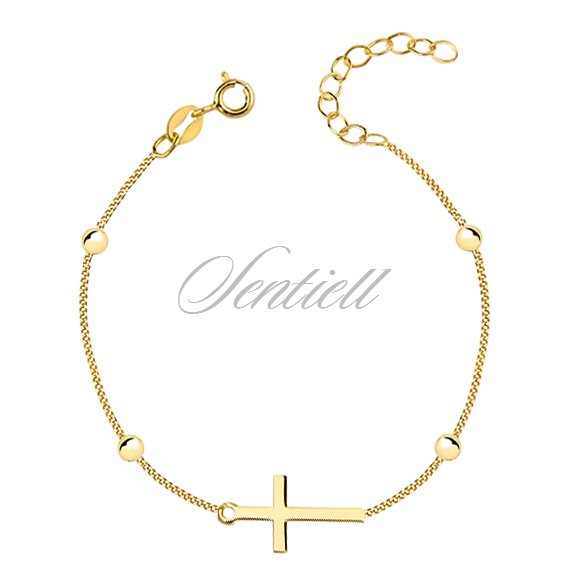 Silver (925) bracelet with cross and balls, gold-plated