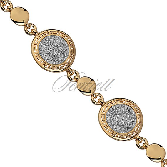 Silver (925) bracelet with gold-plated greek pattern