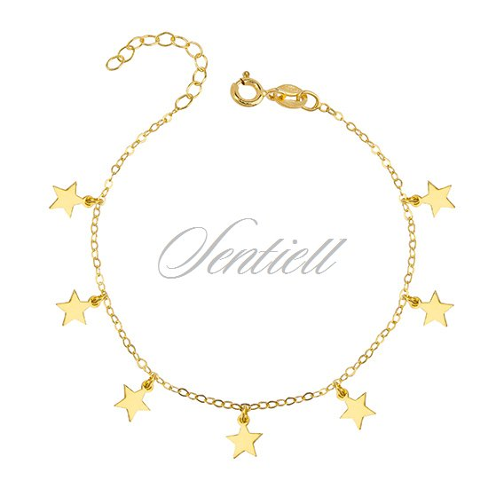Silver (925) bracelet with star pendants, gold-plated