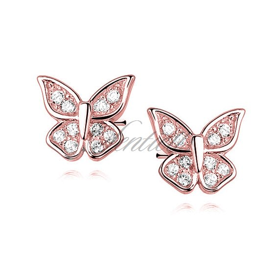 Silver (925) butterfly earrings with zirconia, rose gold-plated