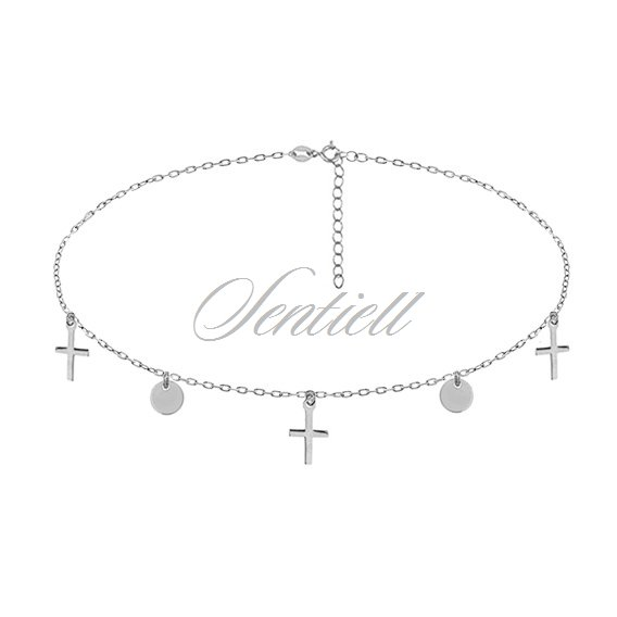 Silver (925) choker necklace with round pendants and crosses