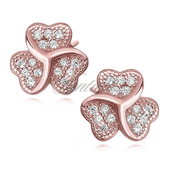 Silver (925) clover earrings with zirconia, rose gold-plated