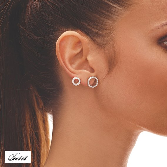 Silver (925) cuff earring with zirconia - cirlces