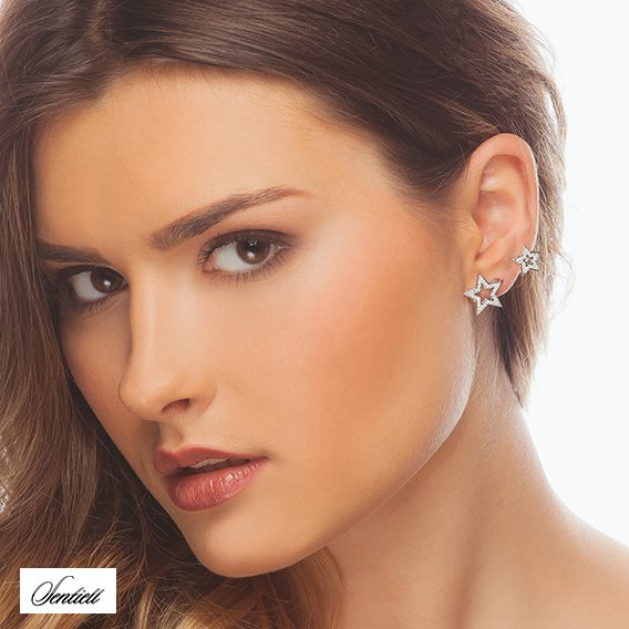 Silver (925) cuff earring with zirconia - stars