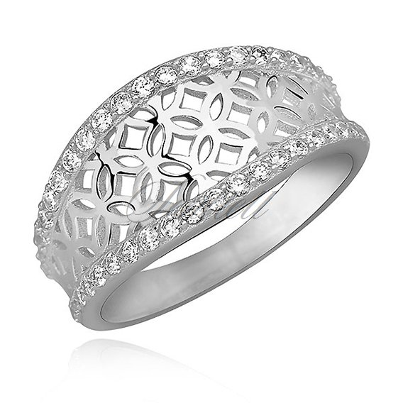 Silver (925) decorated ring with white zirconia