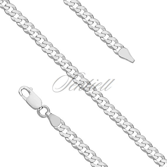 Silver (925) diamond-cut chain - curb extra flat Ø 0120 rhodium-plated