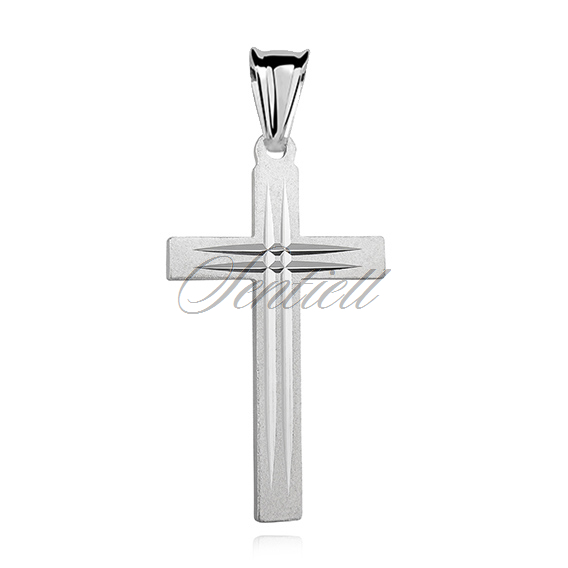 Silver (925) diamond cut pendant cross