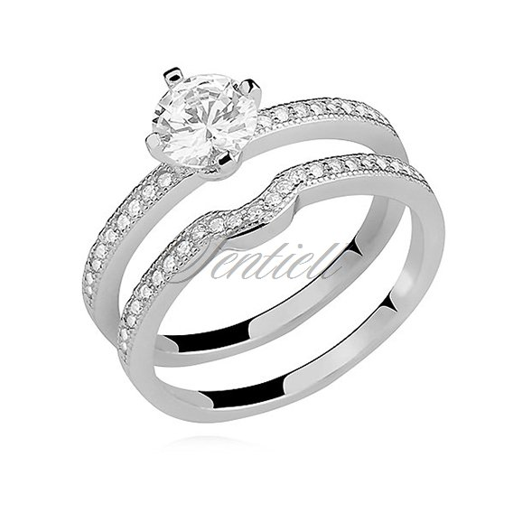 Silver (925) double ring with white zirconia