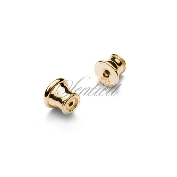 Silver (925) ear nuts / clutches - barrel/bullet with silicone filling for stud earrings (10pairs)