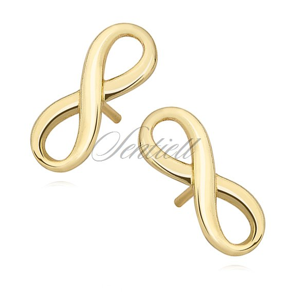 Silver (925) earrings Infinity, gold-plated