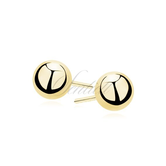 Silver (925) earrings balls 3mm gold-plated