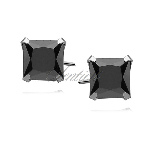 Silver (925) earrings black zirconia 7 x 7mm square