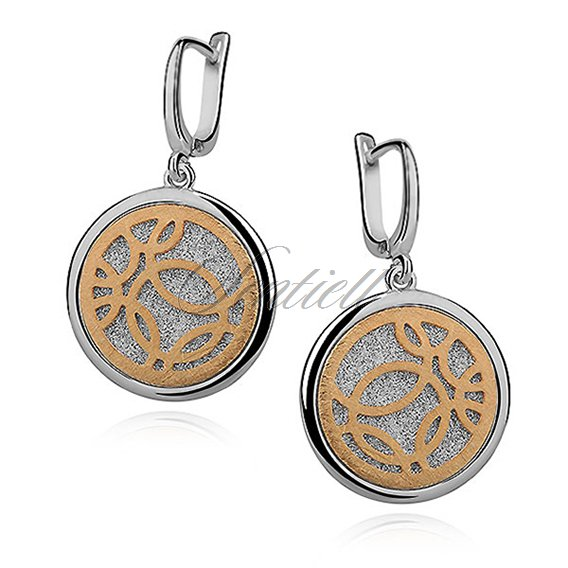 Silver (925) earrings - diamond-cut with gold-plated circles