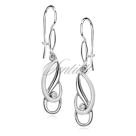 Silver (925) earrings elegant satin and zirconia