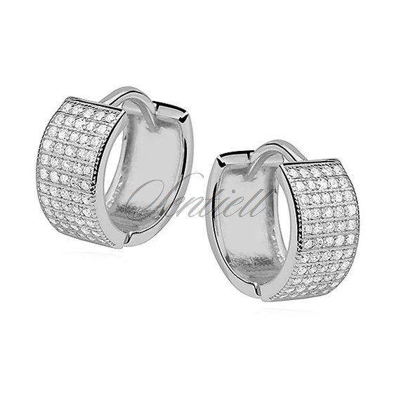 Silver (925) earrings hoop with five rows of zirconia