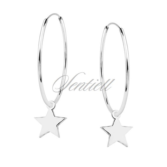 Silver (925) earrings hoop with stars