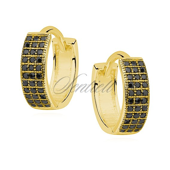 Silver (925) earrings hoop with three rows of black zirconia, gold-plated