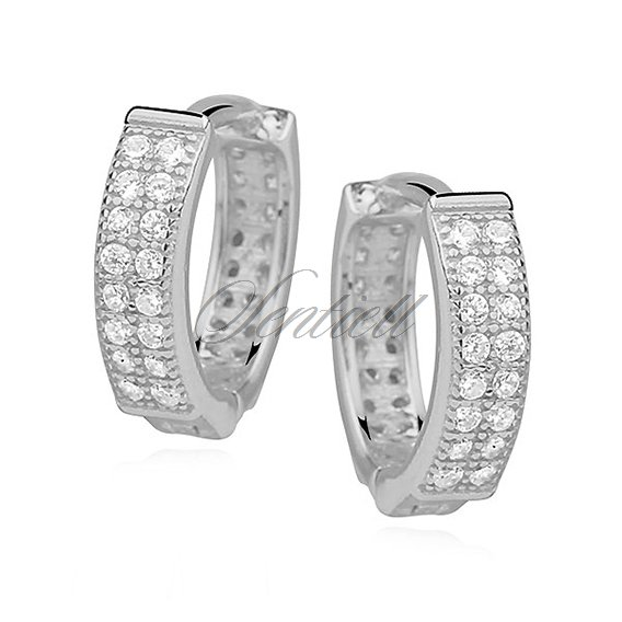 Silver (925) earrings hoop with two rows of zirconia