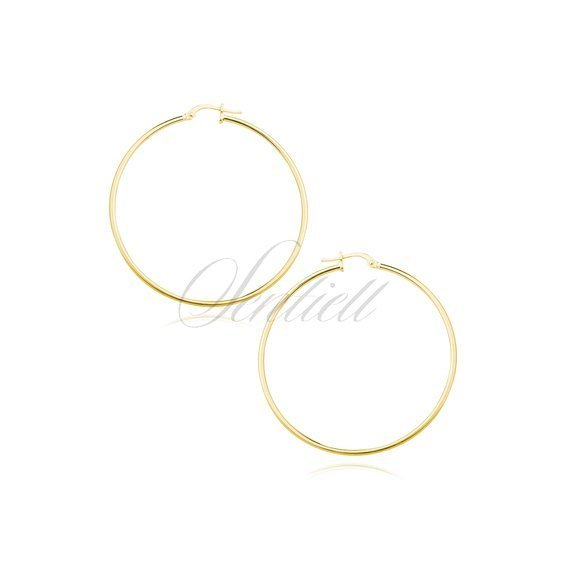Silver (925) earrings hoops - highly polished, gold-plated