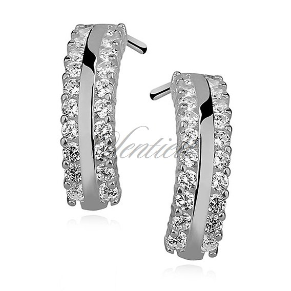 Silver (925) earrings open hoop with zirconia, rhodium-plated