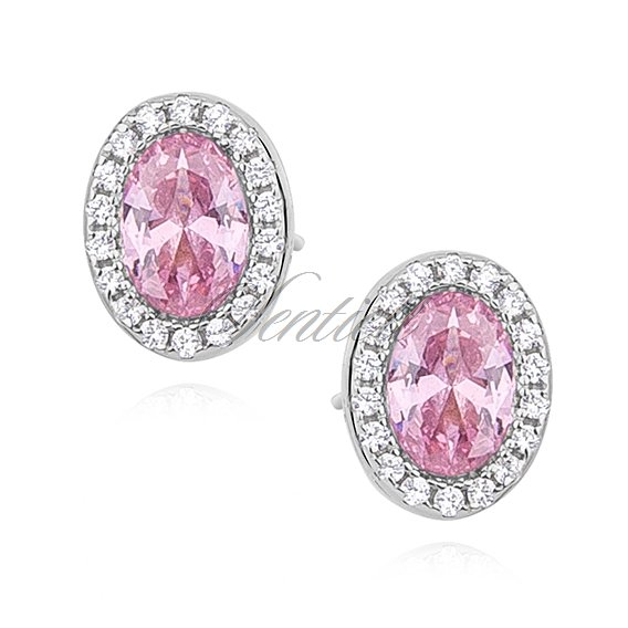Silver (925) earrings oval with light pink zirconia