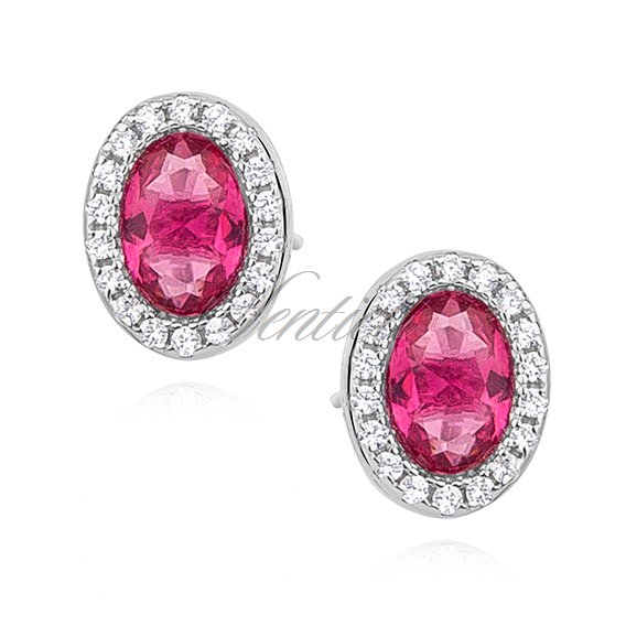 Silver (925) earrings oval with ruby zirconia