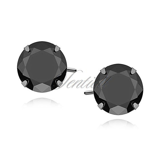 Silver (925) earrings round black zirconia diameter 7mm