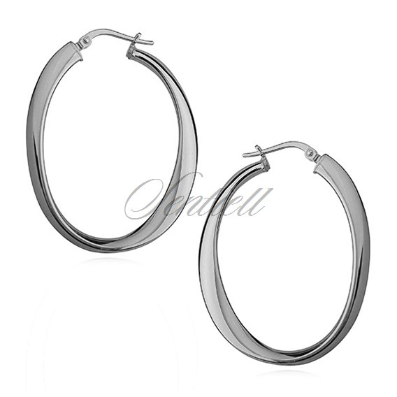 Silver (925) earrings wavy oval - highly polished