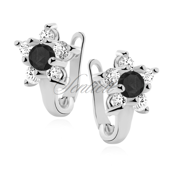 Silver (925) earrings white and black zirconia flowers