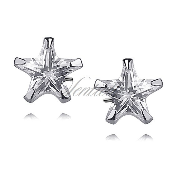 Silver (925) earrings white zirconia 8 x 8mm stars