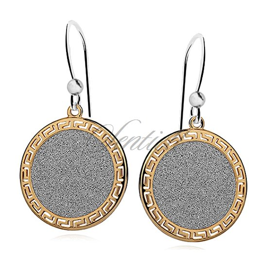 Silver (925) earrings with gold-plated greek pattern