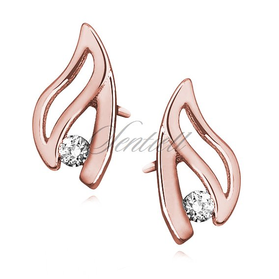 Silver (925) earrings with zirconia, rose gold-plated