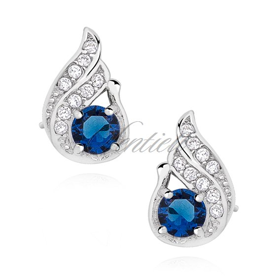 Silver (925) elegant earrings with sapphire zirconia