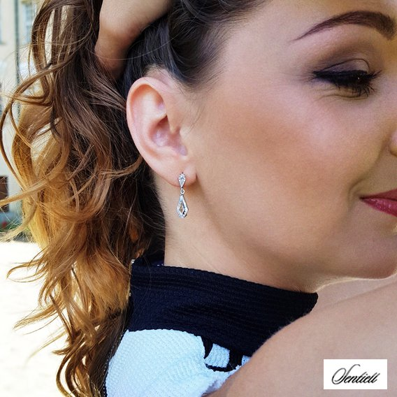 Silver (925) stylish, bridal earrings with zirconia