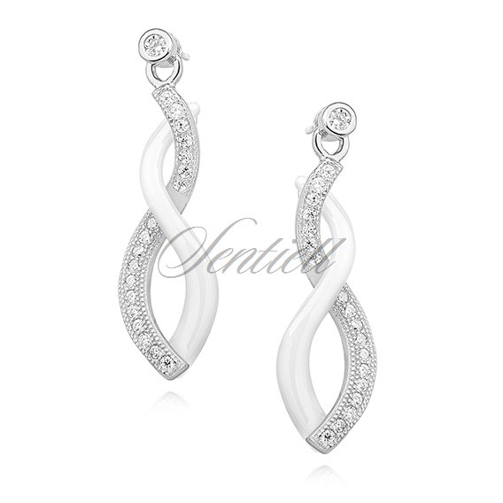 Silver (925) elegant earrings with zirconia and ceramic element