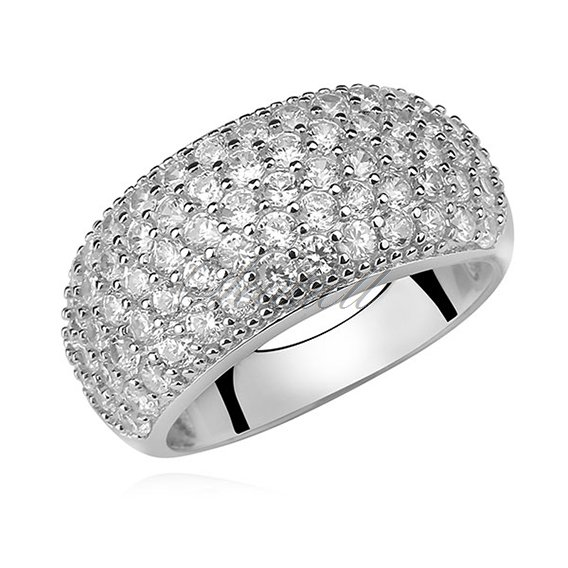 Silver (925) elegant ring with white zirconia - convex