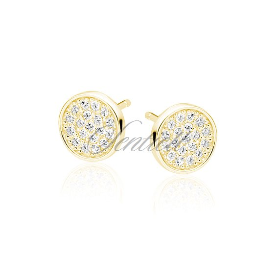 Silver (925) elegant round earrings with zirconia, gold-plated