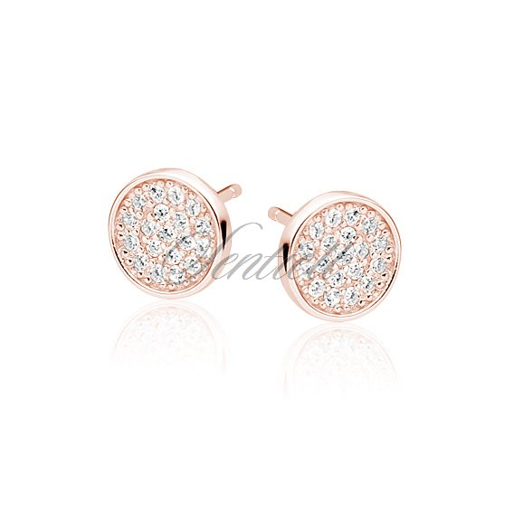 Silver (925) elegant round earrings with zirconia, rose gold-plated
