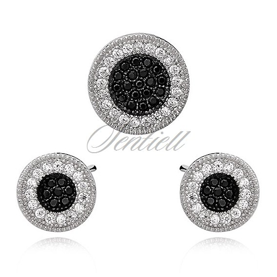 Silver (925) elegant round set, white and black with a concave measure