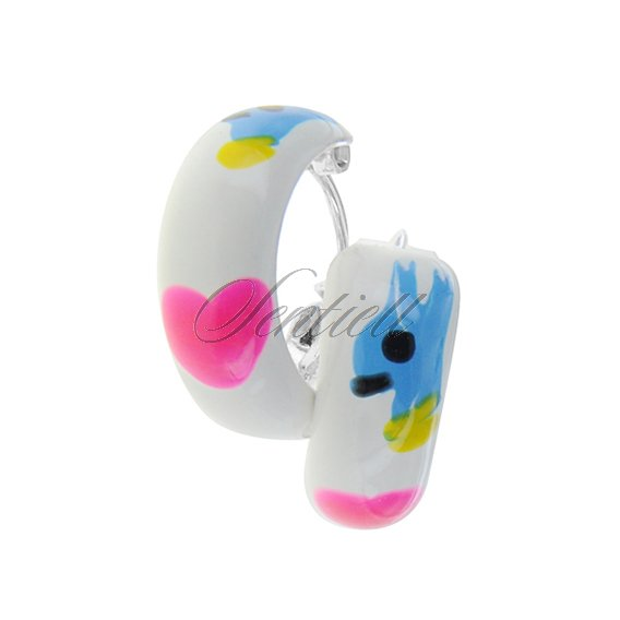 Silver (925) enamelled hoop earrings white with pink heart, riveted