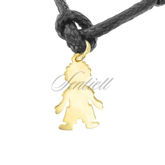 Silver (925) flat charm for bracelets  - gold plated boy