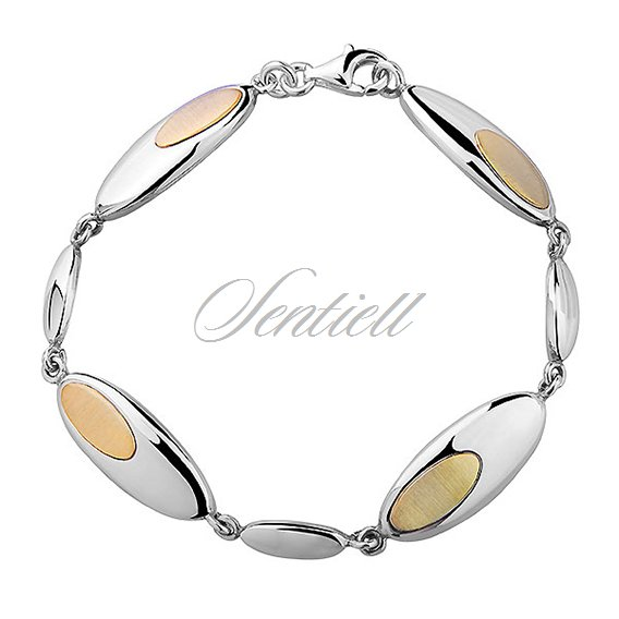 Silver (925) gold-plated bracelet - oval with satine