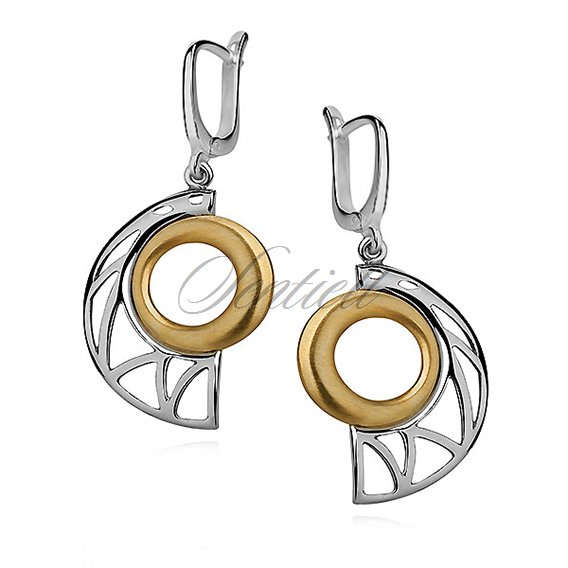 Silver (925) gold-plated earrings with satin
