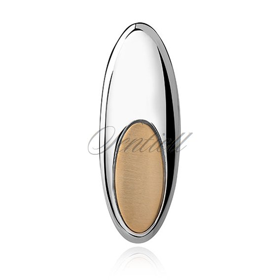 Silver (925) gold-plated pendant - oval with satin