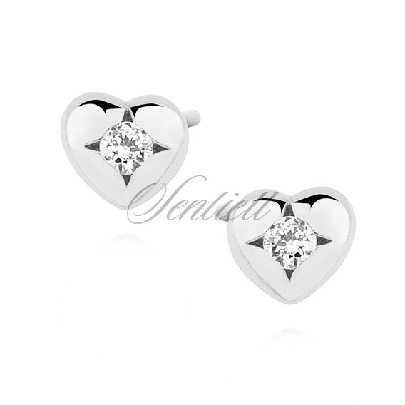 Silver (925) heart shape earrings with zirconia