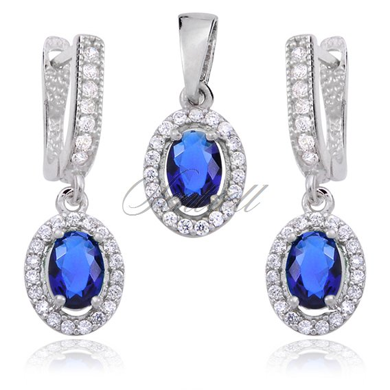 Silver (925) jewelry set blue & white zirconia