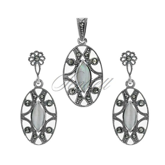 Silver (925) jewelry set (earrings and a pendant) nacre and marcasites