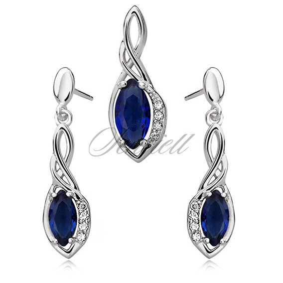 Silver (925) jewelry set - elegant, sapphire marquis wrapped in silver