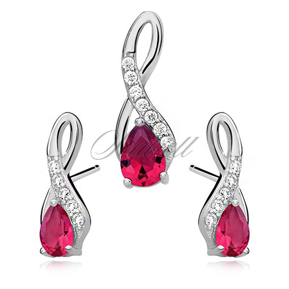 Silver (925) jewelry set - ruby drop adorned with white zirconia