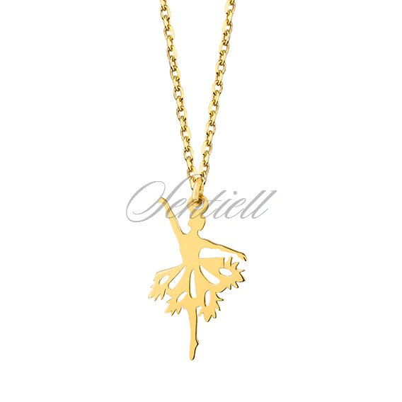 Silver (925) necklace - ballerina, gold-plated